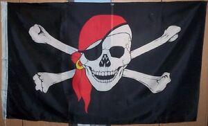 GIANT,PIRATE FLAG, Red Bandana, Gold Earring, 5ft x 3ft