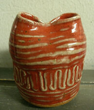 VINTAGE STUDIO ART POTTERY STONEWARE VASE ABSTRACT ARTIST SIGNED - BURGUNDY RED