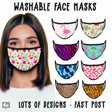 FACE MASKS - UK VIRUS WASHABLE REUSABLE PROTECTIVE MOUTH COVERINGS ADULTS MASK