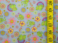 Frogs Flower Print Blue 100% Polyester Knit Fabric By The 1/2 Yard No Stretch