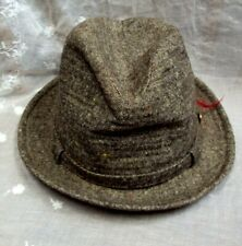 Vtg Men's BROWN TWEED HAT ~ Size 6 & 7/8 ~ Feather & Indian Button Decoration