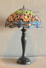 Lampada da tavolo comodino stile Tiffany h75 metallo vetro colorato flower L16