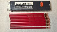 Lot 10 Vintage Berol Verithin Thin Lead Art Pencils Carmine Red 2745 w Box NOS