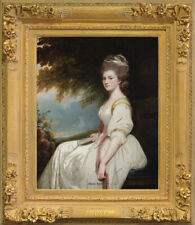 "Old Master Art Antique Portrait Lady Elizabeth Oil Painting Unframed 30""x40"""