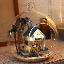 Mini Glass DIY Wooden Dolls house Kit all Furniture&LED light / Voice control