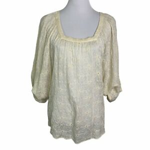 Lucky Brand Cream Floral Embroidery Bat Sleeves Oversized Blouse Womens XS / S