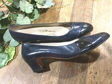 """Salvatore Ferragamo  Low Heels Pumps Black and Navy Leather 7AA 9 5/8"""" X 2 3/4"""""""