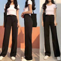 Pantalon Streetwear taille haute femme noir pantalon de bureau à jambe largeTRFR