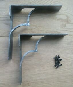 PAIR OF WILTSHIRE HAND FORGED blacksmith rustic vintage iron shelf bracket