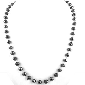 6mm-7mm Black Diamond Chain Necklace in Rose Gold, Excellent Cut & Luster