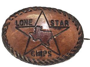 Vintage Mens Western Texas Lone Star Chips Leather Belt Buckle