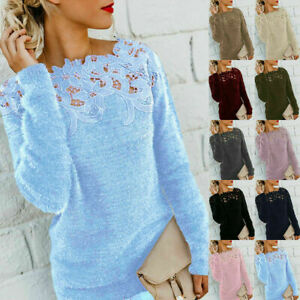 Womens Winter Warm Sweater Tops Ladies Lace Jumper Pullover Top Plus Size UK