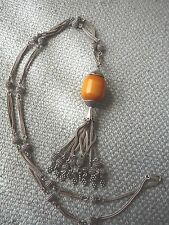 ANTIQUE STERLING / 800 SILVER AMBER BAKELITE SAUTOIR LARIAT NECKLACE W. TASSELS