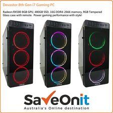 Intel i7 8th gen Gaming PC Desktop RX580 8G 480G SSD 16G RGB Tempered Glass