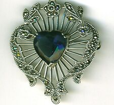 925 Sterling Silver Marcasite & Blue Sapphire CZ? Heart  Brooch   Height 1.5/8""