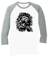 Mens Lion Face 3/4 Triblend Animal Graphic