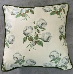 """COLEFAX AND FOWLER FABRIC CUSHION COVER """"Bowood""""  PIPED 18"""" x 18"""" 100% COTTON"""