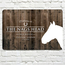 The Nags head  Free House wood effect bar sign A4 metal plaque pubs and clubs