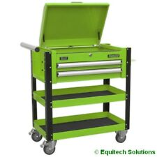 Sealey AP760MHV 2 Drawer Lockable Mobile Tool and Parts Trolley - Hi-Vis Green