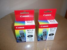 Genuine Lot of 2 Canon BCI-21 Black (x2) Ink Cartridges