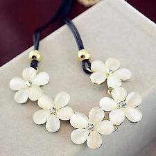 Cat Eye Opal Flower Choker Statement Bib Crystal Necklace Chain Women Pendant