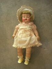 """17"""" RUBBER BODY DOLL WITH COMPOSITION HEAD-BLOND-ORIG. CLOTHES-SQUEAKS"""