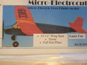 Micro Electricutie Balsa Built Kit Tissue F/Size Plan Small Model Aircraft