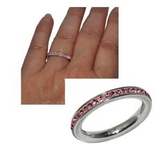 Folli Follie Ring Stainless Steel Silver Crystal Pink T 54 Jewel