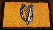 Irish Ireland Harp Flag Patch W VELCRO Brand Fastener Gold & Black black Border