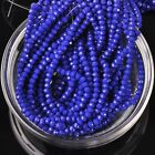 200pcs 3x2mm Rondelle Faceted Crystal Glass Loose Beads Opaque Deep Blue