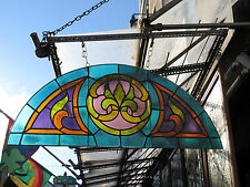 Antique Stained Glass Arched Transom Window with Fleur de Lis