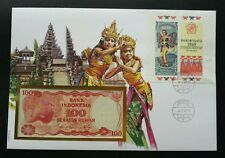 Indonesia Traditional Dance 1990 Culture Costume FDC (banknote cover) *Rare