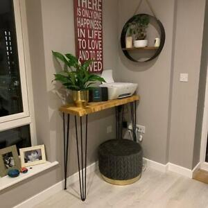 Live Edge 4 Legs Console Table with Hairpin Legs Rustic Table 4 Legs Depth 24cm