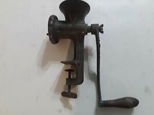 Vintage Griswold No 4 Meat Grinder Table w Clamp Wood Handle Cast Iron Erie USA