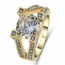 Size 9 White Sapphire Ring 10KT Yellow Gold Filled Wedding Engagement Jewelry