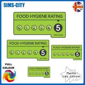 FOOD HYGIENE RATING 5 CARD STICKER RESTAURANT WINDOW VAN DECAL VINYL FHR1