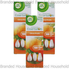 3 x AIR WICK AIRWICK CLICK SPRAY REFILL FRESHENER CITRUS FRUITS 15ML HOME OFFICE