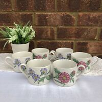 Vintage BHS Terrace Blossoms Cups Mugs Set x 6 Floral Botanical Cottagecore