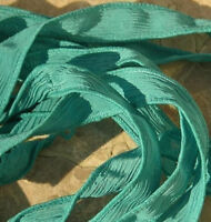 Teal Silk Ribbons, Hand Dyed Qty 5 Jewelry Making Supplies JamnGlass Aqua Green