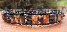 2 Left Unisex Mens multi color Bone Surf Leather Wrap Bracelet Copper Indian