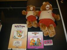 Vintage Teddy Ruxpin Lot Books And Tape Plush Talking Bear 1980'S
