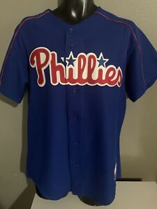 Majestic Philadelphia Phillies Blue Stitched Button Down Jersey Size Mens Med