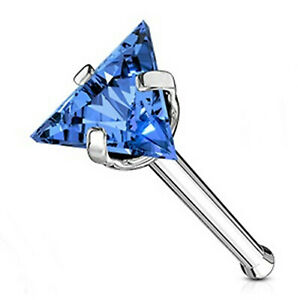"Nose Bone Ring Triangle Blue 3mm Pronged Gem 20 Gauge 1/4"" Steel Body Jewelry"
