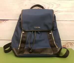 Calvin Klein Navy Blue / Black Nylon Backpack Florence Flap