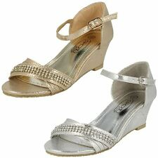 Girls Spot On H1073 Silver Or Gold Peep Toe Wedge Party Sandals