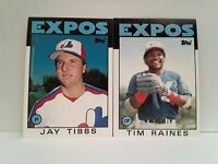 EXPOS 1986 Topps Jay Tibbs + Tim Raines UNCIRCULATED