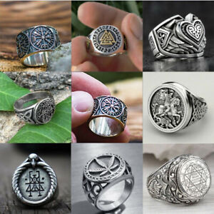 Fashion Norse Viking Axe Compass Rings for Men Stainless Steel Jewelry Size 7-13