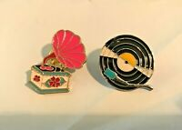 2 Enamel Pins Vintage Record Player & Record Pin Brooch MUSIC RARE NEW Collector