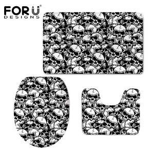 3pcs Fashion Skull Toilet Seat Cover U-shaped Bathroom Rug Padded Decoration New
