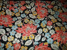 New listing 2+ Yds Vtg 60's Cotton Blend Screen Print Fabric Floral Black Coral Cream Blue